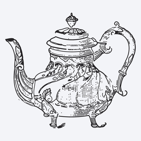 vintage cafe: Vintage tea pot engraving, ephemeral vector illustration