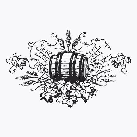 barrel: Vintage barrel engraving, ephemeral vector illustration