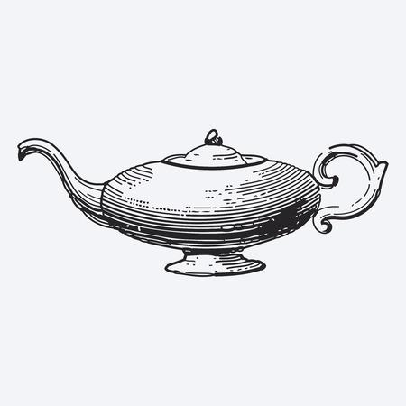 illustrations: Vintage tea pot engraving, ephemeral vector illustration
