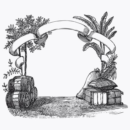 ephemeral: Vintage barrel engraving, ephemeral vector illustration