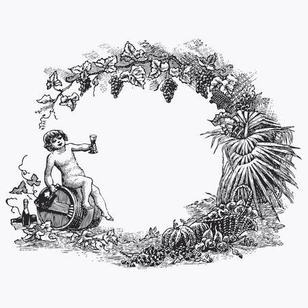 ink drawing: Vintage barrel engraving, ephemeral vector illustration