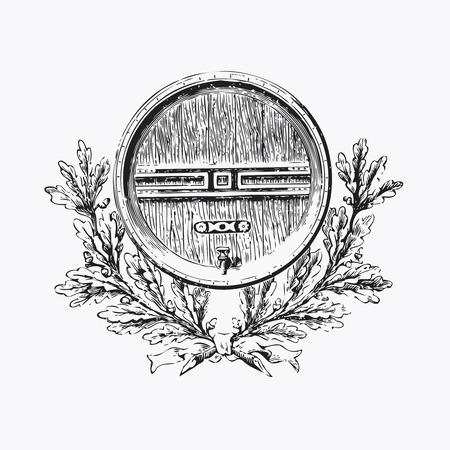 oak wreath: Vintage barrel engraving, ephemeral vector illustration