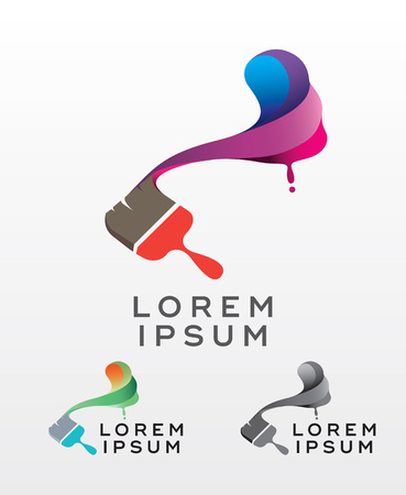 greyscale: Abstract vector painting brush and colorful paint splash icon, emblem, logo design with color alternative and greyscale version. Editable EPS format design element, arts and crafts concept.