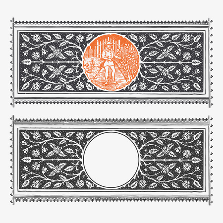 Vector engraving border with floral decorations and circular copy space for your text