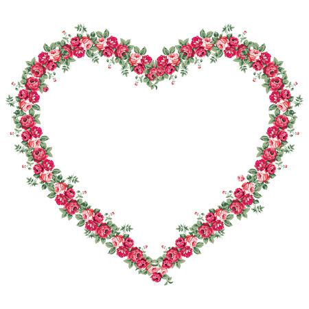 Heart shaped Shabby Chic Rosen Rahmen, valentinsgrußtag isoliert Hintergrund mit Exemplar für Ihren Text - Raster-Version Standard-Bild - 58598681