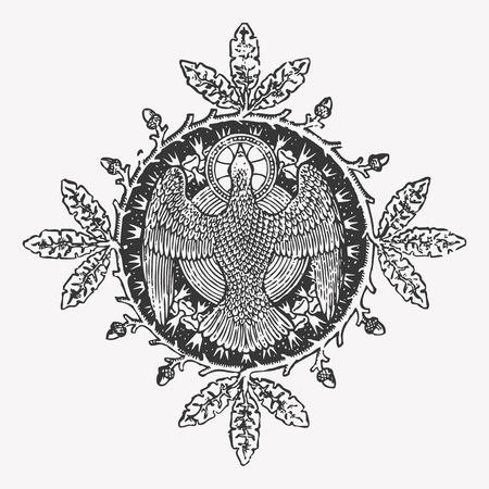 eagle shield and laurel wreath: Engraving eagle icon with a circle wreath, ephemeral heraldry design element. Stock Photo