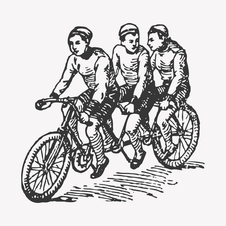 Vector engraving tandem triple seated bike, three kids riding a tandem bike, having fun. Stock Illustratie