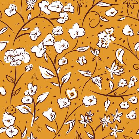 Nahtlose Muster Design mit wenig Frühlingsblumen, freihändig doodle digitale Zeichnung Kunst, Retro-Stil wiederholendes Blumenoberflächenmuster für Web und Print-Nutzung.