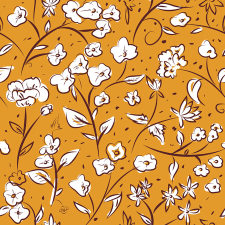 Seamless pattern design with little spring flowers, freehand doodle digital drawing art, retro style floral repeating surface pattern for web and print use.