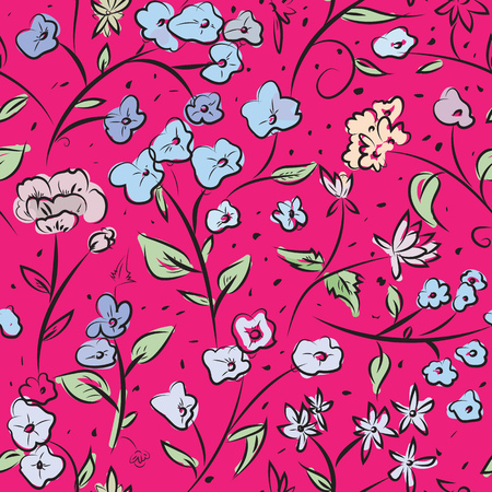 digital art: Seamless pattern design with little spring flowers, freehand doodle digital drawing art, retro style floral repeating surface pattern for web and print use.