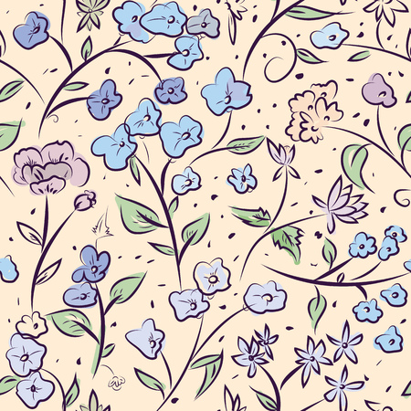 Seamless pattern design with little spring flowers, freehand doodle digital drawing art, retro style floral repeating surface pattern for web and print use. Ilustração Vetorial