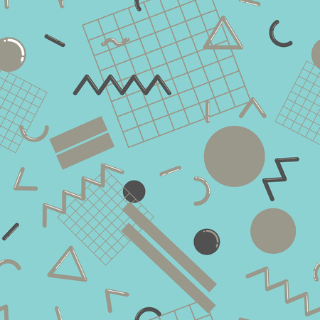 the nineties: Stylish and fashionable seamless pattern vector design with abstract geometric shapes, repeating tiled background, 80s-90s style trendy design element for web and print.