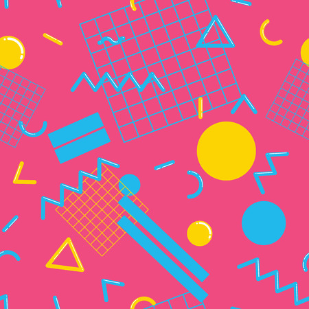 graphic pattern: Stylish and fashionable seamless pattern vector design with abstract geometric shapes, repeating tiled background, 80s-90s style trendy design element for web and print.