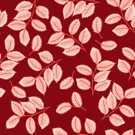 Seamless pattern design with digital drawings of leaves. Nature, ecology, vintage concept shabby chic repeating vector background for web and print use