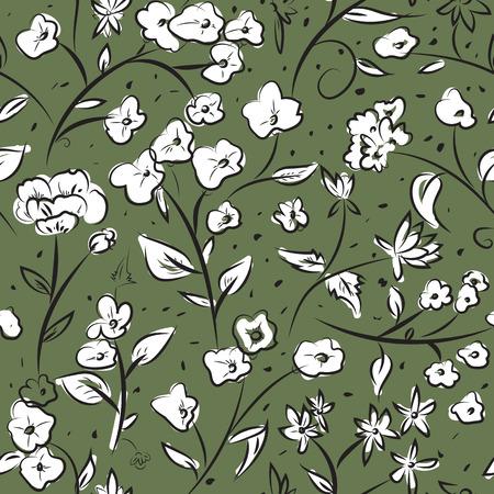 patrones de flores: diseño sin patrón con pequeñas flores de primavera, el arte de dibujo a mano alzada del doodle digital, floral patrón de superficie de estilo retro repitiendo para la web y el uso de impresión.