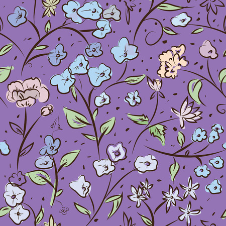tiny: Seamless pattern design with little spring flowers, freehand doodle digital drawing art, retro style floral repeating surface pattern for web and print use.