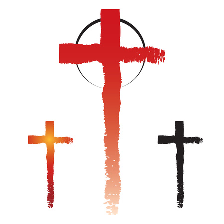Conjunto de icono dibujado a mano grunge cruz, simples signos cruzados cristianos, símbolos cruzados creados con pinceladas aisladas sobre fondo blanco.
