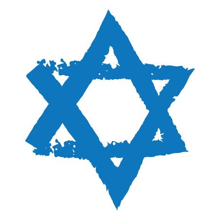 Grunge vector icon of Judaic symbol Magen David or David Star, abstract hexagram digital brush work design element, Israeli flag detail Illustration