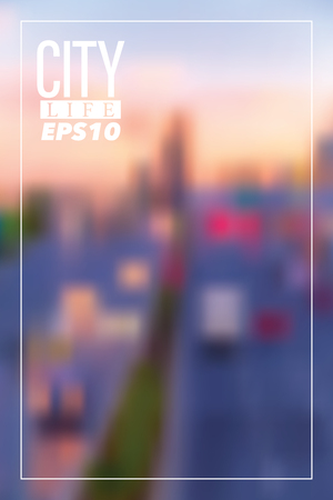 Abstract conceptual background with blurry city sunset view, buildings and cars in traffic, bokeh lights, soft colors vertical design element. Illustration