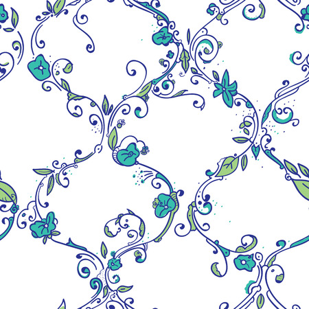 trellis: Digital hand drawing moroccan tile trellis floral seamless pattern, cute repeating background with little spring flowers for all web and print purposes. Illustration