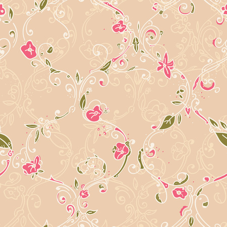 trellis: Digital hand drawing tile trellis floral seamless pattern, cute repeating background with little spring flowers for all web and print purposes.