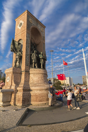 failed attempt: Istanbul, Turkey - July 23, 2016: Turkish people gathering and waving flags at Taksim Square. The meetings were called Duty for Democracy after the failed July-15 coup attempt of Gulenist militants.