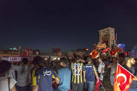 recep tayyip erdogan: Istanbul, Turkey - July 23, 2016: Turkish people and football clubs supporters at Taksim Square. The meetings were called Duty for Democracy after the failed July-15 coup attempt of Gulenist militants