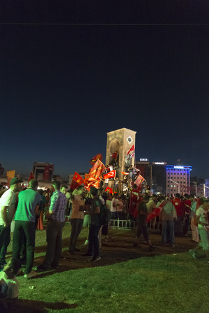 failed attempt: Istanbul, Turkey - July 23, 2016: Turkish people and football clubs supporters at Taksim Square. The meetings were called Duty for Democracy after the failed July-15 coup attempt of Gulenist militants