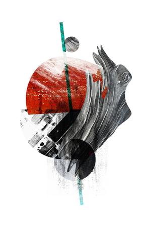 Abstrakte Kreis digitale Kunstplakat