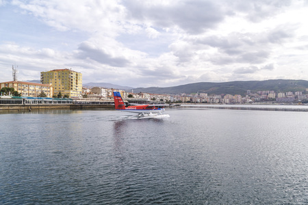 the marmara: Gemlik, Turkey - March 23, 2016: Seabird aircraft taking off from Gemlik town to Istanbul. The journey takes 50 minutes over the Sea of Marmara. Transportation service provided by Bursa municipality. Editorial