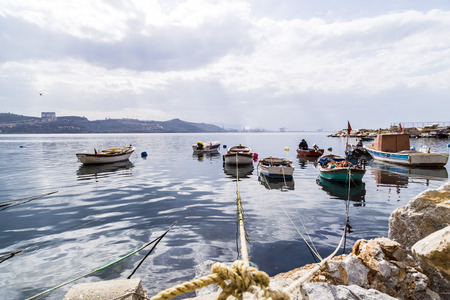 marmara: Fishing boats in Kayikhane district of Gemlik, a bay town by the Marmara Sea, Bursa Province of Turkey. Editorial