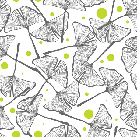 japanese paper: Vector seamless pattern design with hand drawn gingko biloba leaves, nature themed repeating background, elegant and trendy surface pattern for web and print purposes. Illustration