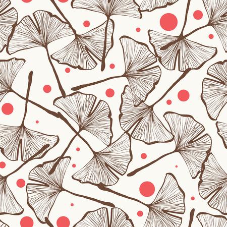 Vector seamless design pattern avec des feuilles de gingko biloba dessinés à la main, la nature thème répéter fond, motif de surface élégant et branché à des fins de Web et d'impression. Banque d'images - 62995835
