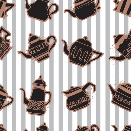 Seamless pattern design doodle vintage and shabby tea or coffee pots in different shapes and sizes, nostalgic and cute repeat background for web and print purposes