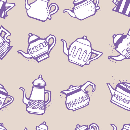 nostalgic: Seamless pattern design doodle vintage and shabby tea or coffee pots in different shapes and sizes, nostalgic and cute repeat background for web and print purposes