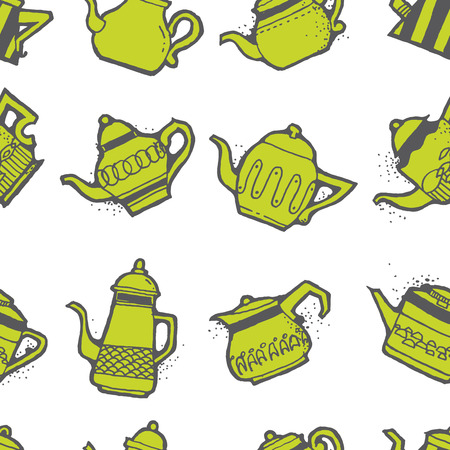 different shapes: Seamless pattern design doodle vintage and shabby tea or coffee pots in different shapes and sizes, nostalgic and cute repeat background for web and print purposes
