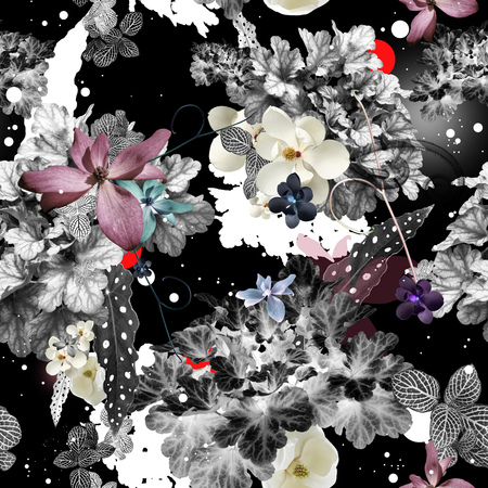Abstract seamless pattern with floral decorations, raster based elegant magnolia repeating background, super high resolution for print and web use