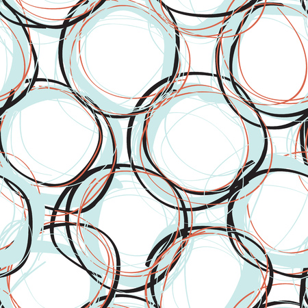 repeat pattern: Abstract vector seamless pattern with scribble circle shapes, repeat background design for web and print Illustration