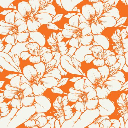 design pattern Shabby chic et transparente avec de belles fleurs de citron ou d'orange dans un endroit frais palette de couleurs, vecteur répéter fond à des fins web et impression