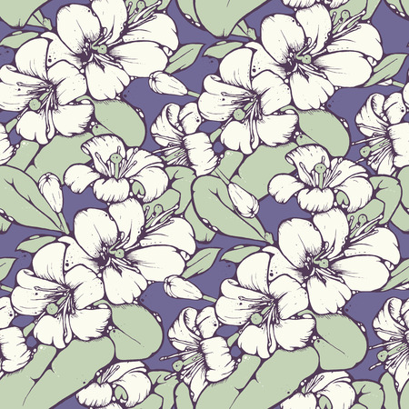 asian gardening: Shabby chic seamless pattern design with beautiful lemon or orange blossoms in cool color palette, vector repeating background for web and print purposes
