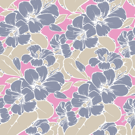 japanese motif: Shabby chic seamless pattern design with beautiful lemon or orange blossoms in cool color palette, vector repeating background for web and print purposes