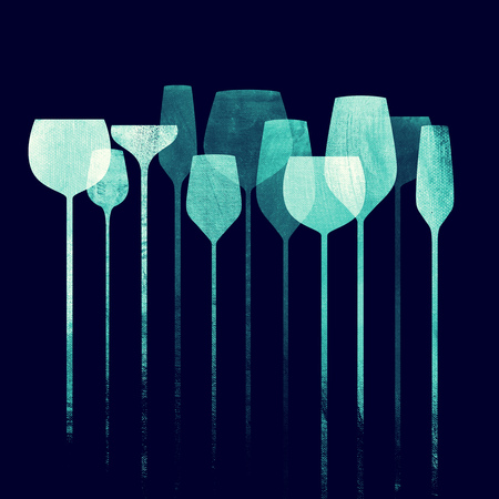 Conceptual collage artwork with paper textured party glasses, alcohol drinks for parties, bars, restaurants etc. Stock Photo