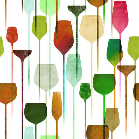 party drinks: Textured paper collage art party drinks seamless pattern, conceptual colorful alchohol drinks repeating background for web and print purpose.