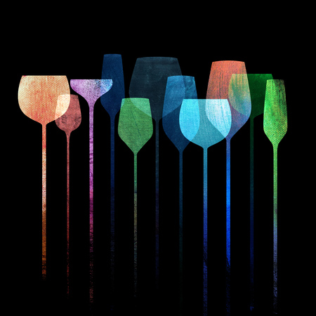 Conceptual collage artwork with paper textured party glasses, alcohol drinks for parties, bars, restaurants etc. Foto de archivo