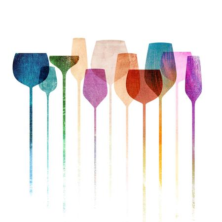 Conceptual collage de obras con los vidrios del partido del papel con textura, bebidas alcohólicas para fiestas, bares, restaurantes, etc.