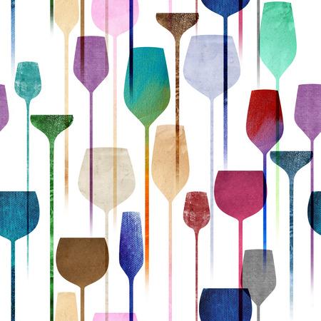 Strukturiertes Papier Collage Kunst Party Getränke nahtlose Muster, konzeptionelle bunten alchohol Getränke zu wiederholen Hintergrund für Web und Print Zweck.