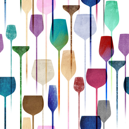 Textured paper collage art party drinks seamless pattern, conceptual colorful alchohol drinks repeating background for web and print purpose.