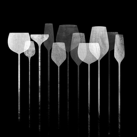 party drinks: Conceptual collage artwork with paper textured party glasses, alcohol drinks for parties, bars, restaurants etc. Stock Photo