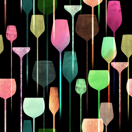 collage art: Textured paper collage art party drinks seamless pattern, conceptual colorful alchohol drinks repeating background for web and print purpose.