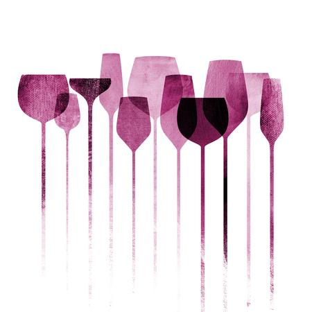 vinho: artwork collage conceptual com papel texturizado vidros do partido, bebidas alco
